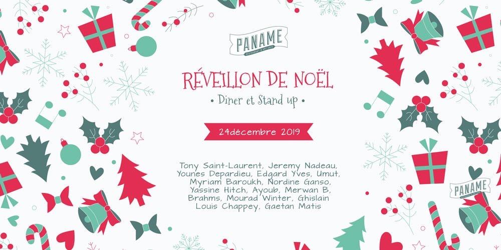 Diner Menu Réveillon de Noël du Paname Comedy Club